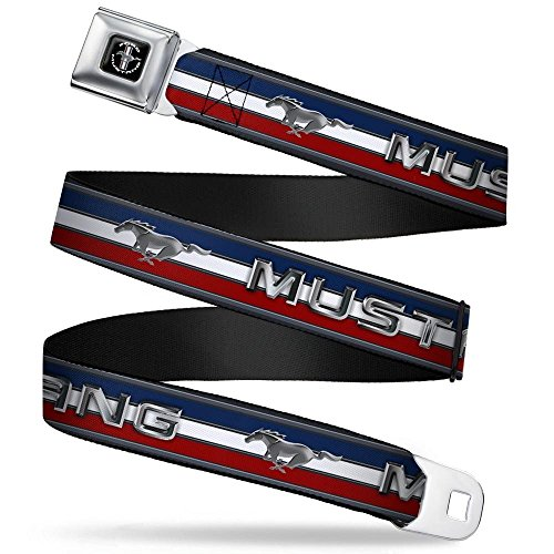 Seat Belt Belt Ford Mustang (Buckle-Down Seatbelt Belt - Mustang/Text w/Tri-Bar Stripe - 1.5