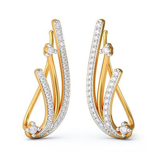 Or jaune 18K 0.53carat au total White-diamond (IJ   SI) Boucles d'oreille à tige