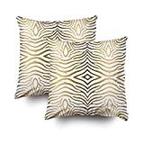 TOMWISH 2 PACKS Hidden Zippered Pillowcase modern gold white zebra stripes 16X16Inch,Decorative Throw Custom Cotton Pillow Case Cushion Cover Home