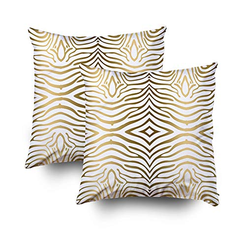 TOMWISH 2 Packs Hidden Zippered Pillowcase Modern Gold and White Zebra Stripes 20X20Inch,Decorative Throw Custom Cotton Pillow Case Cushion Cover for Home