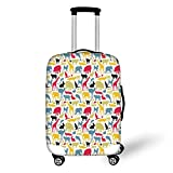 Travel Luggage Cover Suitcase Protector,Cartoon Animal,Grunge Retro Africa Wildlife Characters Colorful Silhouettes Savannah Fauna Decorative,Multicolor,for Travel