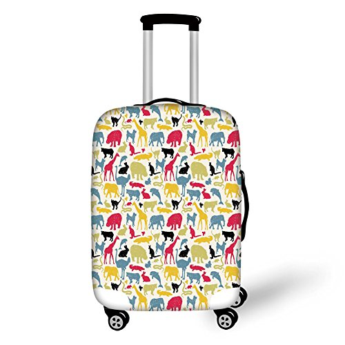 Travel Luggage Cover Suitcase Protector,Cartoon Animal,Grunge Retro Africa Wildlife Characters Colorful Silhouettes Savannah Fauna Decorative,Multicolor,for Travel by iPrint