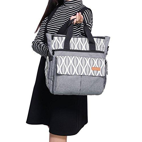 Lekebaby - Bolso bandolera para pañales con cambiador, mochila con cambiador y correas para el carrito, impermeable