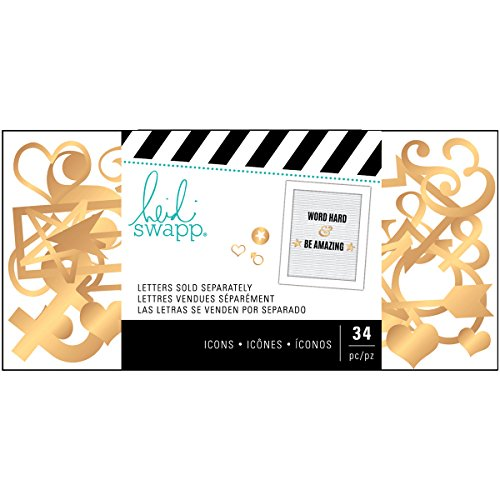 - American Crafts Heidi Swapp Letterboard 34 Piece Icon Pack Arrows Gold