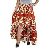 Mogul Interior Womens Bellydance Skirt Recycled Orange Sari Free Ruffle Maxi Skirts