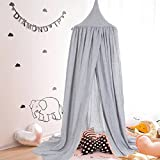 Children's Round Bottom Bed Tent, Bed Canopy Net Hanging Curtain Indoor Play Tent Bed Bedroom Decoration Christmas Gifts for Kids feierna (Grey)