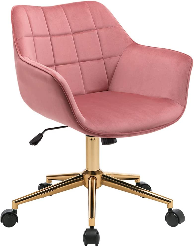 Amazon Com Duhome Modern Home Office Chair Velvet Desk Chair With Gold Metal Base With Mid Back Cute Ergonomic Computer Desk Chair Task Chair With Arms Wheels Adjustable Swivel 1pcs Pink Kitchen