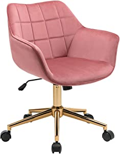 Duhome Modern Home Office Chair Velvet Desk Chair with Gold Metal Base with Mid Back Cute Ergonomic Computer Desk Chair Task Chair with Arms, Wheels Adjustable Swivel 1PCS Pink