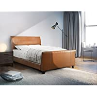 Furniture of America Benedicte Modern English Style Dark Caramel Leatherette Sleigh Bed California King