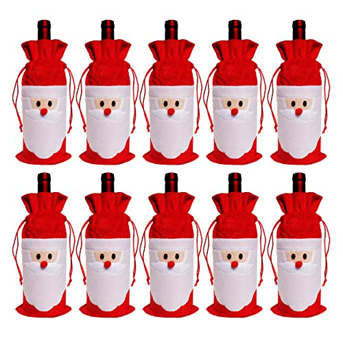 10PC Santa Claus Christmas Drawstring Wine Bottle Bags