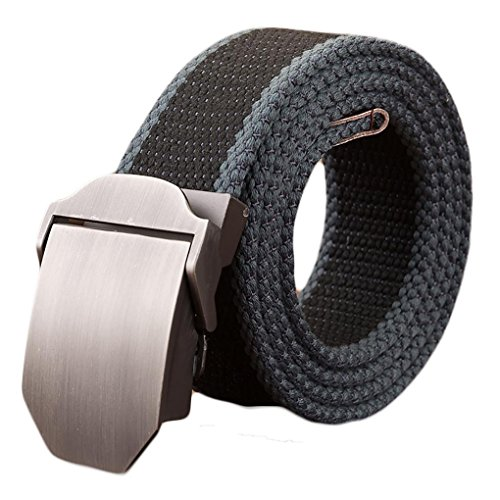 Ayli Mens Webbed Belt, Metal Buckle Casual Canvas Belt with Key Chain, Black and Blue, Fits Pant Sizes From 40 to 48, bt8a004bk140