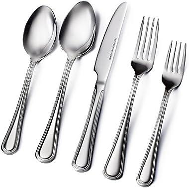 Sagler 20-Piece Flatware Set, 18/10 Stainless Steel silverware sets Set for 4 flatware sets