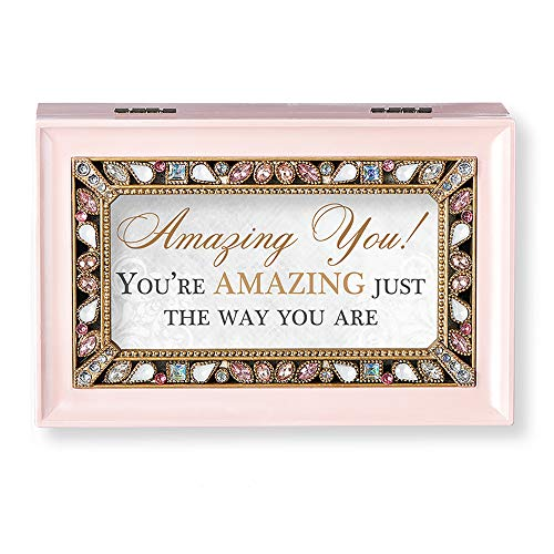 (Roman Music Boxes - Amazing You! Pearlized Pink Finish with Pearl Jeweled Insert Music Box - Plays Sleeping Beauty)