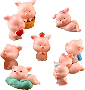 Miniature Pig Figurines, Cute Pink Piggy Toy Figures Cupcake Toppers for Fairy Garden Car Party Decor(Pack of 9)