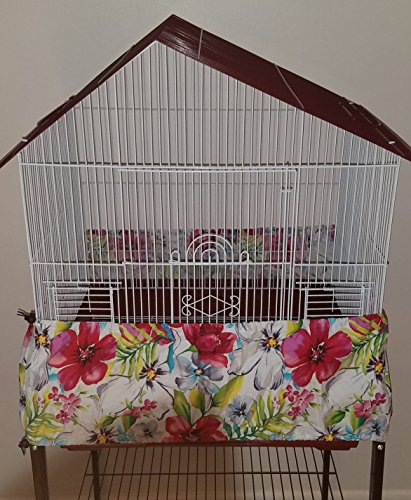 Penn Seed Seed Guard and Catcher Bird Cage Skirt - Lovely Watercolor (Extra Small (32''-64'' Cage Circumference)) by Penn Seed