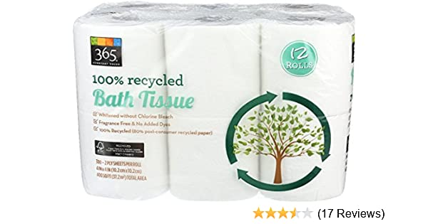Amazon.com: 365 Everyday Value, 100% Recycled Bath Tissue, 12 ct: Health & Personal Care