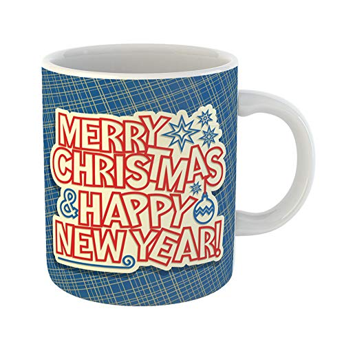 (Emvency Coffee Tea Mug Gift 14 Ounces Funny Ceramic Merry Christmas New Year Holidays Original Happy Label Xmas on Abstract Gifts For Family Friends Coworkers Boss)