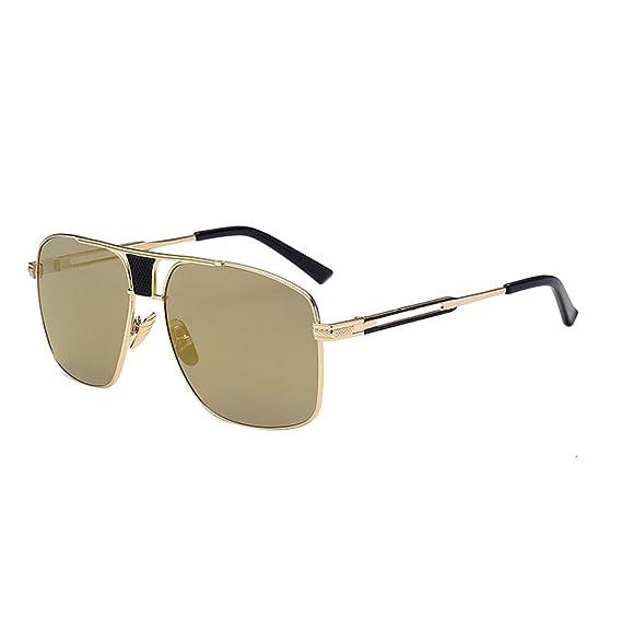 HAOYUXIANG Art Und Weise Helle Farbe Reflektierende Sonnenbrille Quadratische Männliche Modelle Krötenspiegel,SilverFrameIceBlue