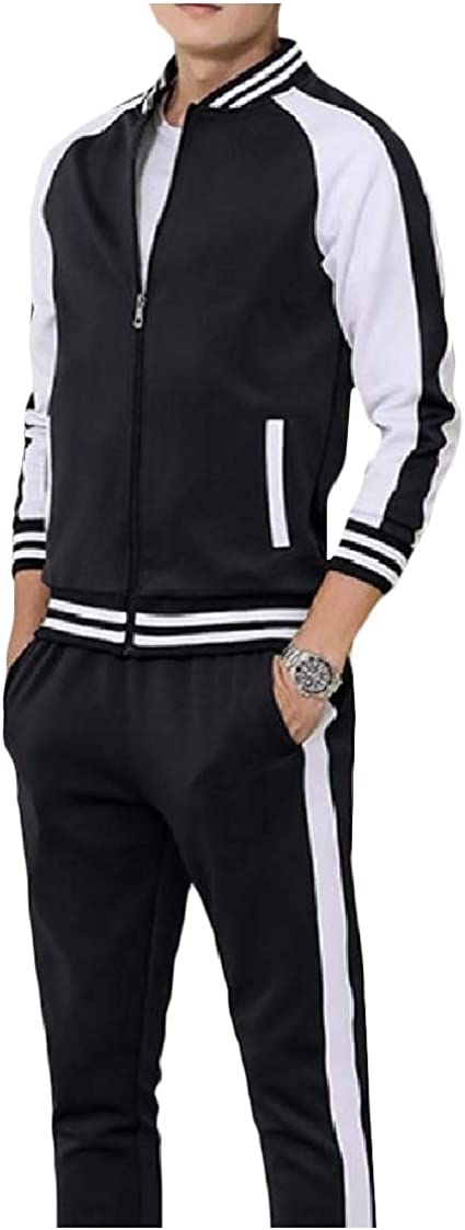 DressU Mens Splicing Pocket Plus Size Zip 2 Piece Stand Collar Fleece Sweatsuit