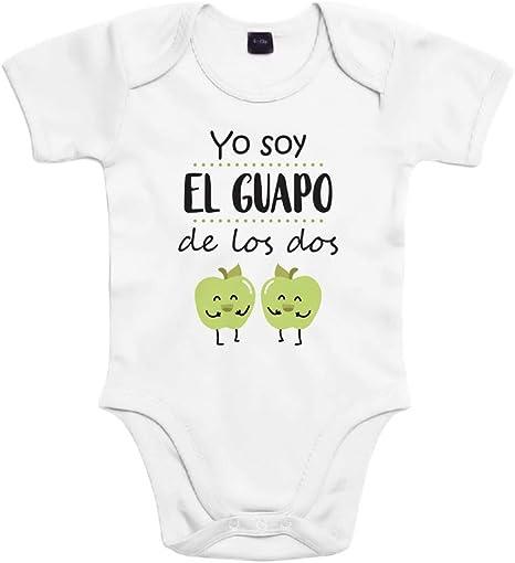 SUPERMOLON Body bebé algodón Mellizos Yo soy el guapo de los dos 3 meses Blanco Manga corta: Amazon.es: Bebé