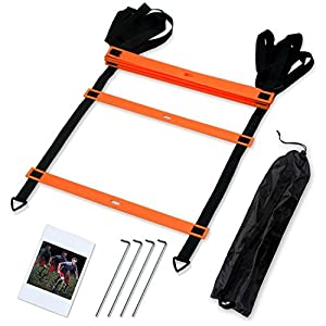 CampFENSE Speed Agility Ladder (Portable) Running Training Hurdles Athletic Football Soccer Basketball Footwork Fitness Exercise with Carry Bag & Training Guide (Orange-4m-8rungs)