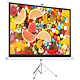 Cloud Mountain 100' 4:3 HD Foldable Tripod Stand Projector Screen Home Office Multi Aspect Ratio Home Theater Portable Pull Up Matte White 1.3 Gain