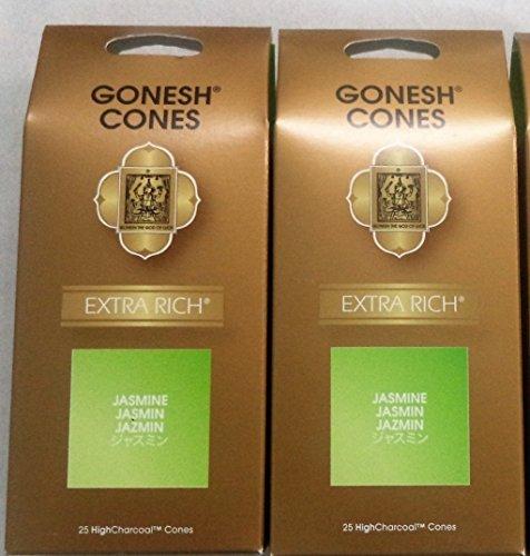 Gonesh Incense Cones Jasmine - Set of 2 Packs of 25, Total 50