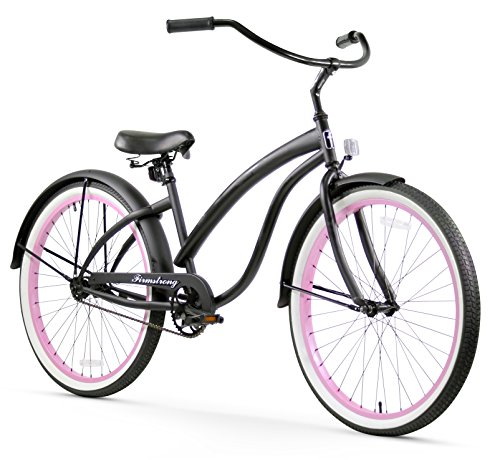 Firmstrong Bella Fashionista Single Speed Beach Cruiser Bicycle, 26-Inch, Matte Black w/ Pink Rims