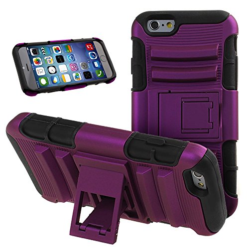 NSSTAR iPhone 6S Case,iPhone 6 Heavy Duty Dual Layer Hard Plastic Soft Silicone Rugged Shell Hybrid Protective Phone Case Cover with Kickstand Case for Apple iPhone 6,2014 & iPhone 6S,2015,Purple