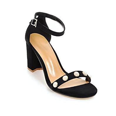 d55cac51b Women s Ankle Strap Open Toe Chunky Heel Sandals Block High Pearl-Wedding