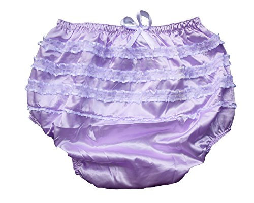 Haian ABDL PVC & Satin Panties Frilly Rumba Pants Color Purple (XX-Large)