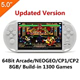 New CZT 5 Inch LCD Screen 8GB 64Bit Retro Handheld Game Console Built-in 1300 Games with MP4 MP5 Function Support Arcade NEOGEO/CPS FC/NES,SFC/SNES/GB/GBC/GBA/SMC/SMD/SEGA Video Games Console