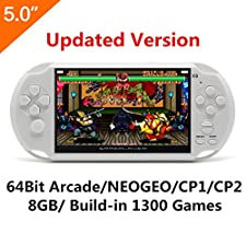 CZT 5 Inch LCD Screen 8GB 32Bit Retro Handheld Game Console Built-in 1200+no-repeat Games with MP4 MP5 Function Support FC/NES,SFC/SNES/GB/GBC/GBA/SMC/SMD/SEGA Video Games Console Support Ebook Camera Recording (White)