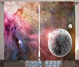 Ambesonne Outer Space Decor Curtains, Large Unknown Frozen Planet in a Star Field with Circular Nebula Fog Galactic Energy Image, Living Room Bedroom Decor, 2 Panel Set, 108 W X 84 L Inches, Pink