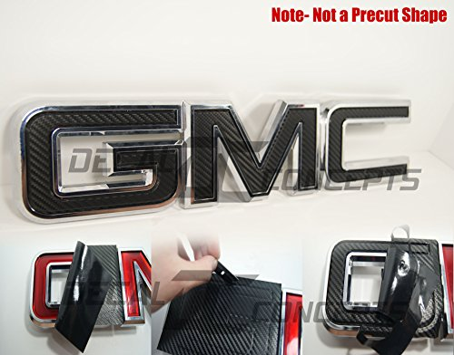Decal Concepts GMC Sierra/Yukon Black Carbon Fiber Front Grill Emblem Overlay Wrap Kit (07-17) (Gmc Carbon)