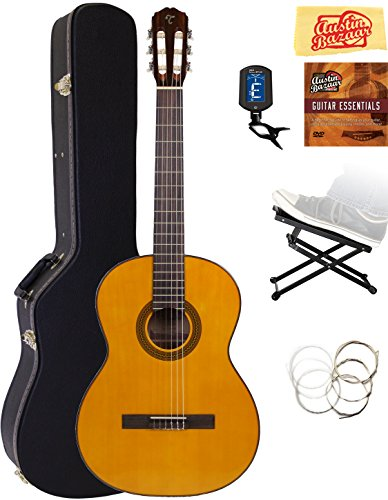 Takamine GC1LH Left-Handed Classical Guitar - Natural Gloss Bundle with Hard Case, Foot Stool, Tuner, Strings, Austin Bazaar Instructional DVD, and Polishing - Guitars Takamine Left Handed