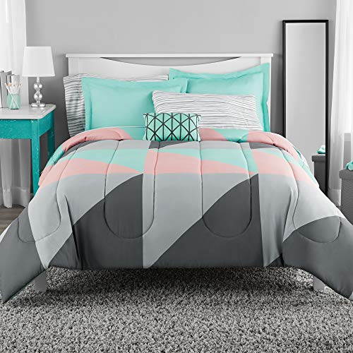 Mainstay Gray and Teal Bed in a Bag King Comforter Set ()