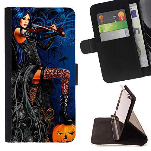 Sexy Halloween Drawing Pumpkin Stocking - Colorful Pattern Flip Wallet Leather Holster Holster Protective Skin Case Cover For LG G4 Stylus / G Stylo / LS770 H635 H630D H631 MS631 H635 H540 H630D H542 -