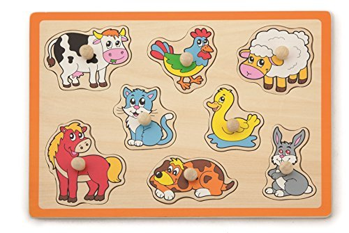 Superb Choice 8 pcs Farm Animals Puzzle with Wooden knobs
