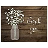 Baby : 50 Baby Breath in Mason Jar Wedding Thank You Cards + Envelopes