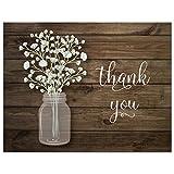 50 Baby Breath in Mason Jar Wedding Thank You Cards +...