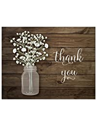 50 Baby Breath in Mason Jar Wedding Thank You Cards + Envelopes BOBEBE Online Baby Store From New York to Miami and Los Angeles
