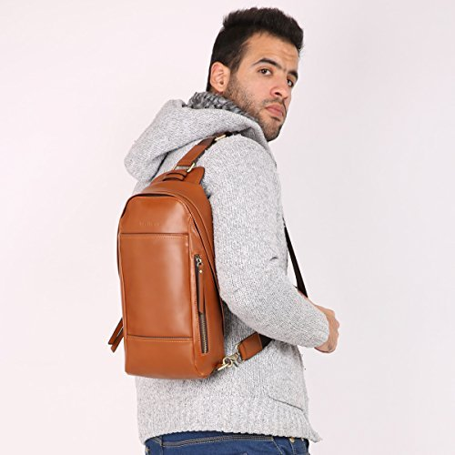 f3389404ed Leathario Men s Leather Sling bag Chest bag One shoulder bag Crossbody Bag  Backpack for men - Buy Online in Oman.