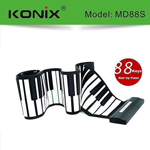 KONIX USB 88 Key MIDI Flexible Silicone Electronic Roll Up Piano MD88S by MISSJIRA