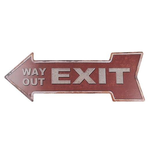 NUOBESTY Cartel de Flecha de Exit Placa de Flecha de Vintage ...