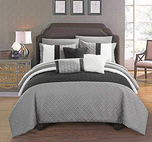 Ebony Bed Set - Chic Home Osnat 10 Piece Comforter Set Color Block Quilted Embroidered Design Bed in a Bag Bedding – Sheets Decorative Pillows Shams Included Queen Grey