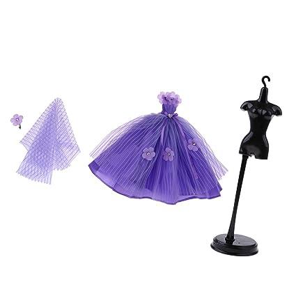 Amazon.es: Homyl Precioso Vestido de Novia de Noche de Manera con Velo + Soporte para Traje Ropa para Muñecas Barbie - C: Juguetes y juegos