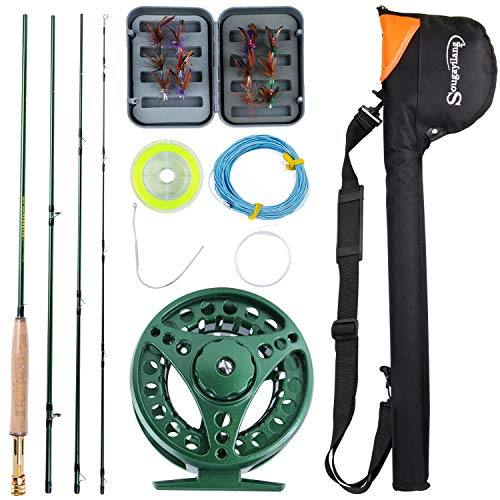 (Sougayilang Saltwater Freshwater Fly Fishing Rod with Reel Combo Kit-Green)