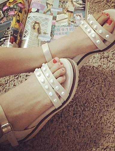 ShangYi Women's Shoes Platform Open Toe Sandals Casual Black/Beige Almond Amxww7vuqj