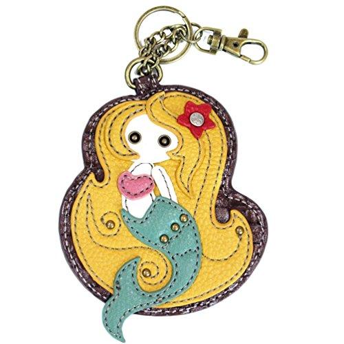 Chala Key Fob/Coin Purse-Mermaid, Yellow/Teal ()